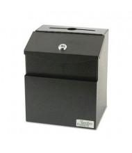 "Vertiflex Steel Suggestion Box with Lock, 7"" W x 6"" D x 8.5"" H, Black"