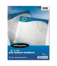 "Wilson Jones 9"" x 12"" One Side Clear Non-Glare Job Ticket Holder, 10/Pack"
