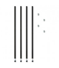 "Alera 36"" H 4-Pack Stackable Posts for Wire Shelving, Black"