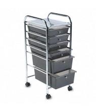 Advantus Portable 6-Drawer Organizer, Smoke/Chrome