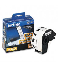 """Brother DK1219 Die-Cut 1/2"""" Round Paper Label Roll, White, 1200/Roll"""