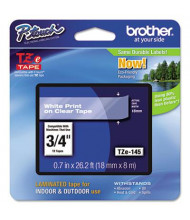 """Brother P-Touch TZE145 TZe Series 3/4"""" x 26.2 ft. Standard Labeling Tape, White on Clear"""
