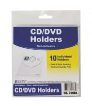 "C-Line 5-1/3"" x 5-1/2"" Self-Adhesive CD Holder, 10/Pack"