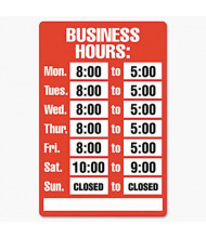 """Cosco 15"""" W x 19"""" H Business Hours Sign Kit"""