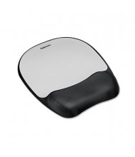 """Fellowes 8"""" x 9-1/4"""" Mouse Pad with Memory Foam Wrist Rest, Silver"""