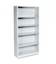 HON Brigade S72ABCQ 5-Shelf Metal Bookcase in Light Grey