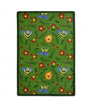 Joy Carpets Bee Attitudes Rectangle Classroom Rug, Green