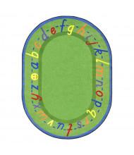 Joy Carpets AlphaScript Classroom Rug, Green (Shown in Oval)