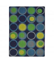 Joy Carpets Circle Back Pattern Circle Rectangle Classroom Rug, Navy