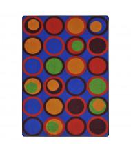 Joy Carpets Circle Back Pattern Circle Rectangle Classroom Rug, Primary