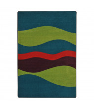 Joy Carpets Flow Striped Rectangle Classroom Rug, Tropics