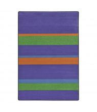 Joy Carpets Straight & Narrow Striped Rectangle Classroom Rug, Violet