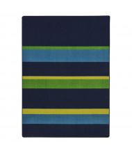 Joy Carpets Straight & Narrow Striped Rectangle Classroom Rug, Navy