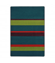 Joy Carpets Straight & Narrow Striped Rectangle Classroom Rug, Tropics