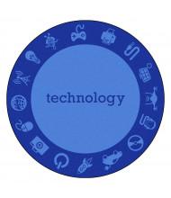Joy Carpets STEM Classroom Rug, Technology (Shown in Round)
