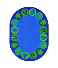 Joy Carpets Lively Leaves Oval Classroom Rug, Multi