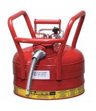 """Justrite 7325130 Type II AccuFlow DOT 2.5 Gallon Steel Safety Can, 1"""" Hose, Red"""
