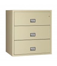 """Phoenix 3-Drawer 31"""" Wide Lateral Fireproof File Cabinet, Putty"""
