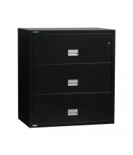 """Phoenix 3-Drawer 38"""" Wide Lateral Fireproof File Cabinet, Black"""