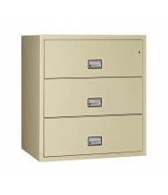 """Phoenix 3-Drawer 44"""" Wide Lateral Fireproof File Cabinet, Putty"""