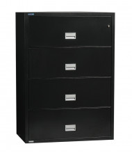 """Phoenix 4-Drawer 31"""" Wide Lateral Fireproof File Cabinet, Black"""