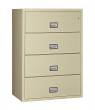 """Phoenix 4-Drawer 38"""" Wide Lateral Fireproof File Cabinet, Putty"""