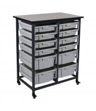 Luxor 12-Drawer Mobile Small & Large Plastic Storage Bin Unit