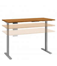 """Bush 60"""" W x 24"""" D Laminate Top Electric 27"""" - 47"""" Height Adjustable Standing Desk (Shown in Natural Cherry / Grey)"""