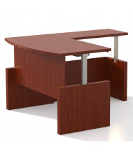 """Mayline Aberdeen 66"""" W Electric L-Shaped Bow Front Height Adjustable Desk (Shown in Cherry)"""
