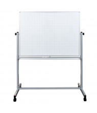 Luxor 4' x 3' Grid Line Painted Steel Magnetic Mobile Reversible Whiteboard