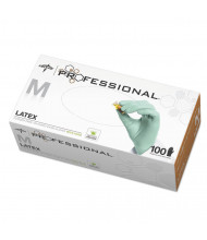 Medline Professional Latex Exam Gloves with Aloe, Medium, Green, 100/Pack