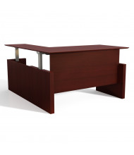 """Mayline Medina 63"""" W Electric L-Shaped Straight Front Height Adjustable Desk (Shown in Mahogany)"""