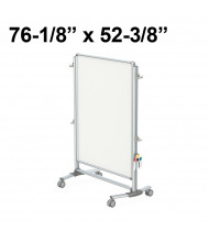 "Ghent Nexus Partition 76"" x 52-3/8"" Double-Sided Mobile Porcelain Magnetic Whiteboard"