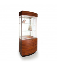 """Tecno OP105-30 30"""" W Curved Display Case 16.5"""" D x 79.5"""" H (mahogany/silver frame)"""