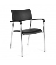 Offices to Go OTG1220B Black Plastic 4-Leg Stack Chair with Arms, 4-Pack