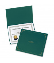 """Oxford 9-3/4"""" x 12-1/2"""" 5-Pack Certificate Holder, Green"""