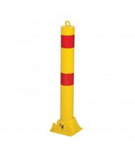 "Vestil 4.25"" Round 35.5"" H Fold Down Steel Bollard Post, Yellow PARK-P-108-FD"