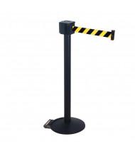 Retracta-Belt 30 ft. Retractable Belt Barrier Stanchion, Retracta-Wheel Base (Shown in Black with Black/Yellow Belt)