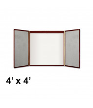 Quartet 851 Premium 4 ft. x 4 ft. Whiteboard with Projection Screen Mahogany Wood Veneer Conference Room Cabinet