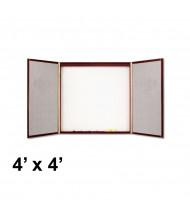 Quartet 878 4 ft. x 4 ft. Mahogany Laminate Whiteboard/Bulletin Board Conference Room Cabinet