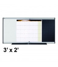 Quartet 3-in-1 Prestige 3' x 2' Calendar, Tackboard & Melamine Combination Whiteboard