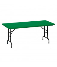 """Correll Heavy-Duty 72"""" W x 30"""" D Height Adjustable 22"""" - 32"""" Rectangular Colored Folding Table (Shown in Green)"""