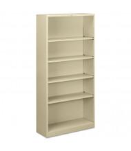 HON Brigade S72ABCL 5-Shelf Metal Bookcase in Putty