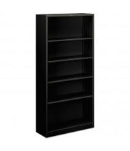HON Brigade S72ABCP 5-Shelf Metal Bookcase in Black