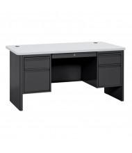 "Sandusky 700 Series 60"" W Double Pedestal Teacher Desk (Shown in Grey / Black)"