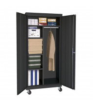 "Sandusky 36"" W x 24"" D x 78"" H Transport Mobile Combination Storage Cabinet, Assembled (Shown in Black)"