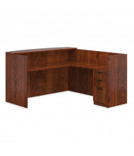 "Offices to Go SL-O 71"" W L-Shaped Reception Desk with Pedestal (Shown in Dark Cherry)"