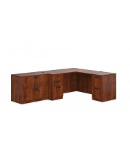 """Offices to Go SL-N L-Shaped 66"""" Straight Front Desk with Pedestal, Return (Shown in Dark Cherry)"""