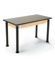 NPS Height Adjustable Chemical Resistant Science Lab Table, Black Legs