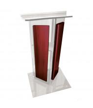 Amplivox Acrylic V-Shaped Wood Paneled Lectern with Shelf, (Shown in Clear Acrylic / Mahogany)